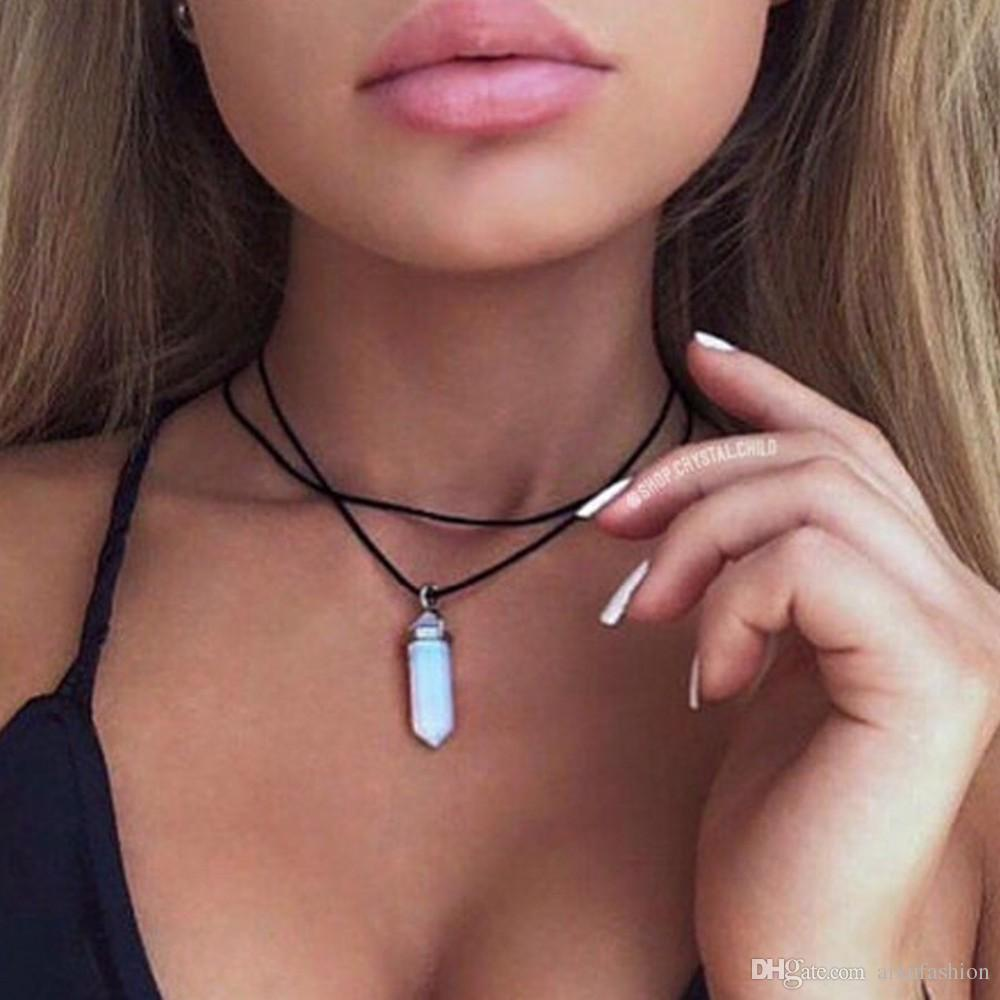 Double Velvet Belt Chokers Necklaces Personality Short Sum Warhead Natural Crystal Pendant Clavicle Necklace Fashion Women Chokers Necklace