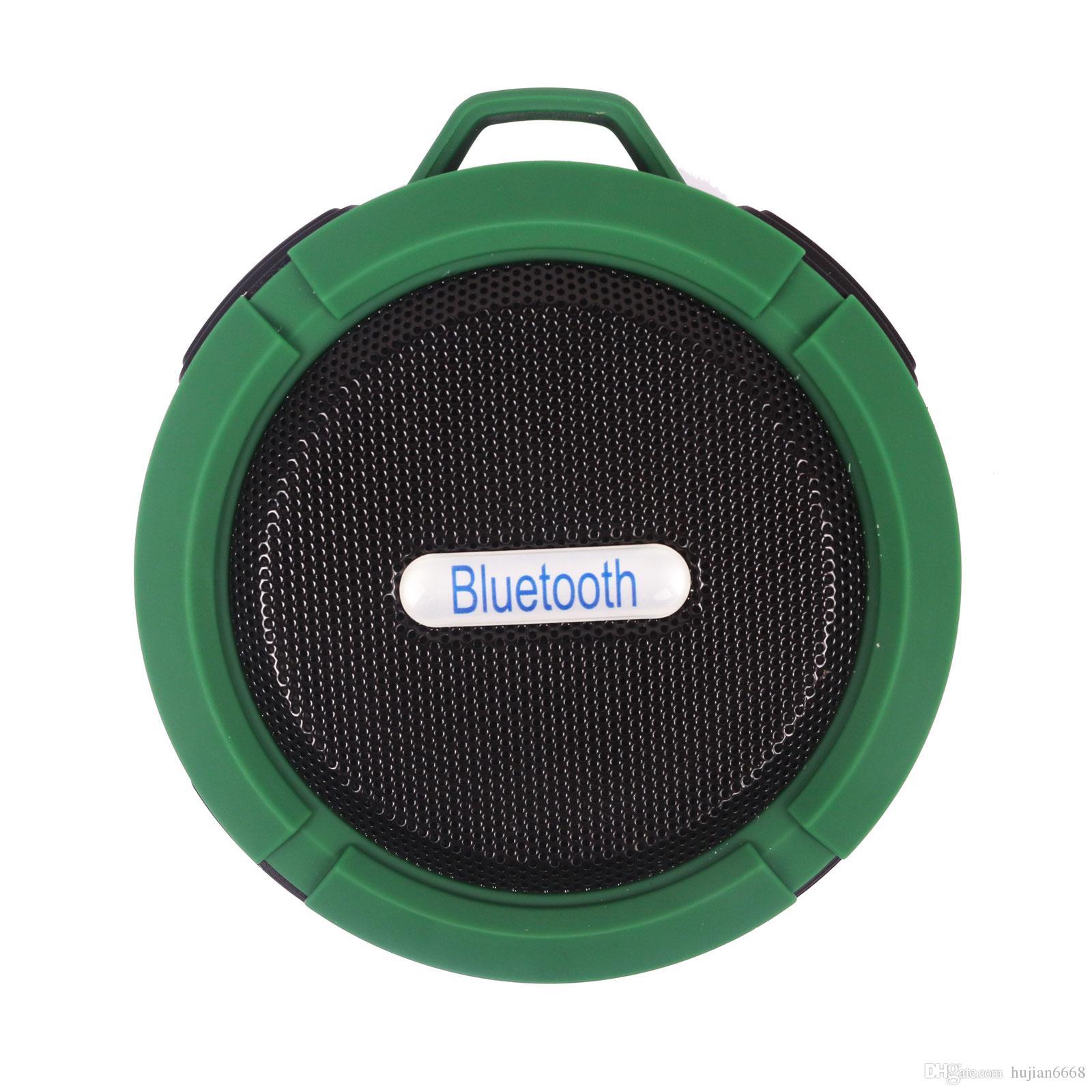 C6 Altoparlante Bluetooth Ventosa portatile Stereo Moda Wireless impermeabile Hook up Vivavoce Mini Audio Speaker con microfono