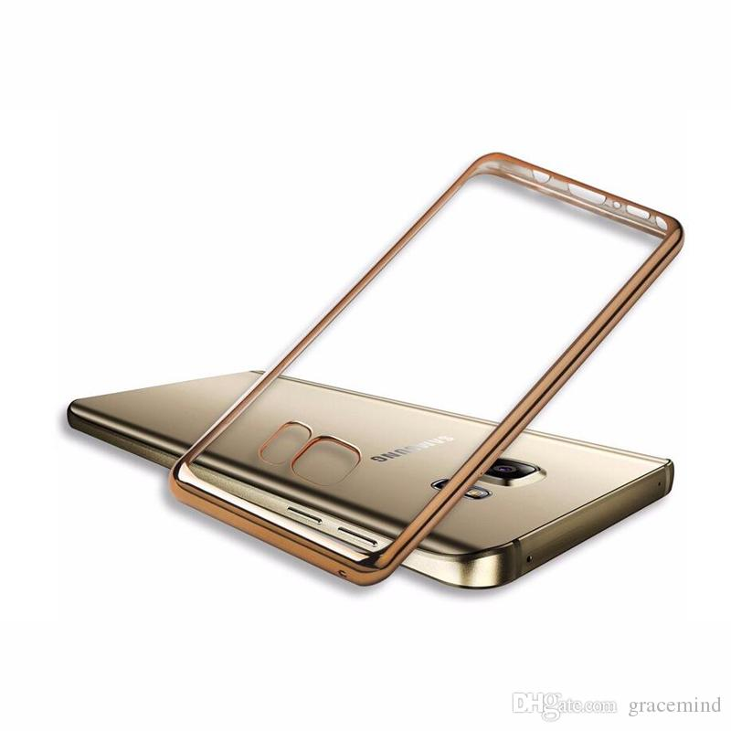 For Samsung Note 8 Note 5 Luxury Ultra Thin Clear Crystal Rubber Plating Electroplating TPU Soft Mobile Phone Case