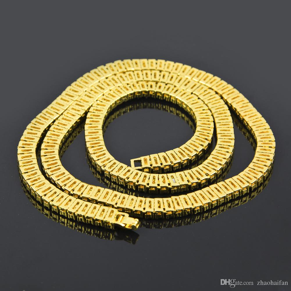 2017 New 18k Gold Filled 2 Row Iced Out Tennis Necklace 20,24,30 inches cuban link chain For men