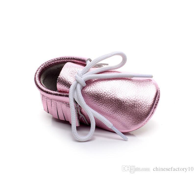 Véritable Cuir De Vachette Bébé Chaussures Semelle Souple Enfants À Lacets Chaussures Nouveau-Né Garçon Filles Prewalker