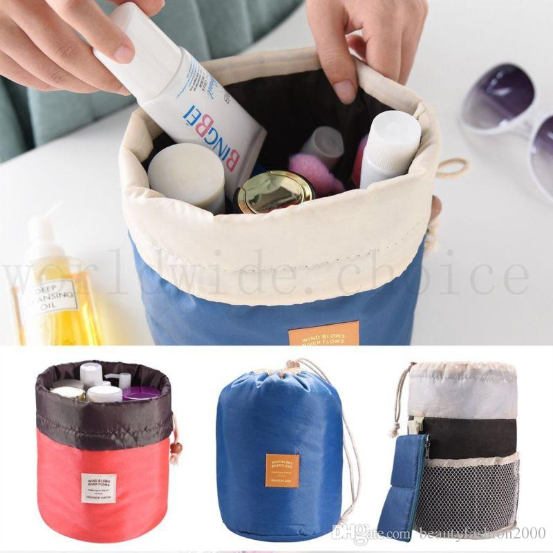 b1225791ce Large Cosmetic Bags Barrel Travel Cosmetic Drawstring Wash Bag Shaving Case  Cosmetic Wash Makeup Organizer Storage Toiletry Bag Professional Makeup  Kits The ...