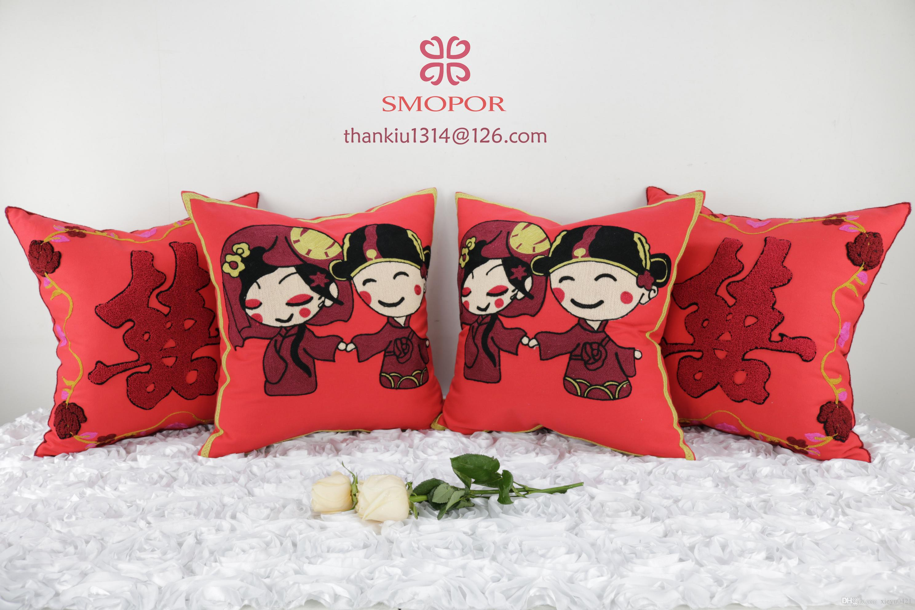 Chinese Traditional Wedding Embroidery Marriage Cushion Cover Soft