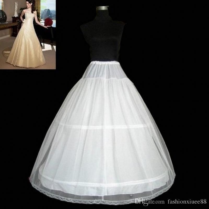 Бесплатная доставка! На складе A-Line 2 обручи Белая свадебная юбка Свадебная накладка Регулируемая талия Невеста Свадебные юбки