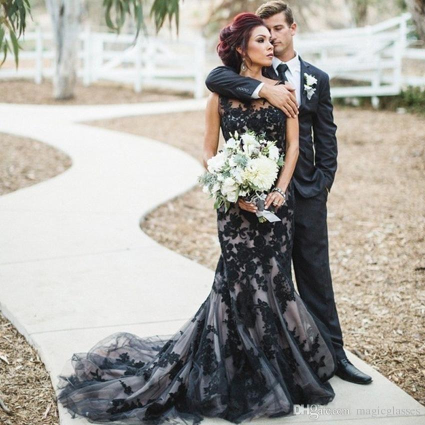 Модные Черные Готические Свадебные Платья Русалки 2017 Кружева На Заказ Невесты Свадебные Платья Sweep Поезд халат де mariage