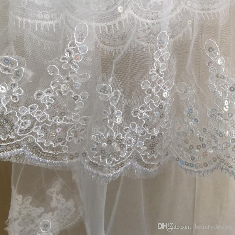Longitud del dedo hermosa boda velos accesorios nupciales 2017 En stock Venta caliente dos capas velos de novia con peine