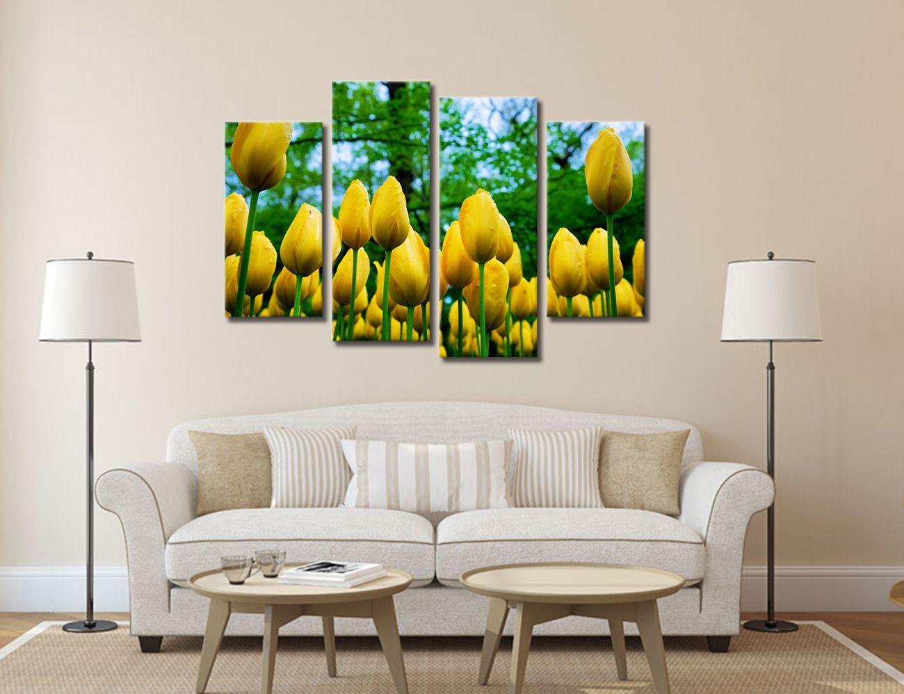 Golden Tulip Flower Painting on Canvas Non Frame Modern Giclee Print Living Room Wall Decor 30cmx60cmx2 30cmx80cmx2