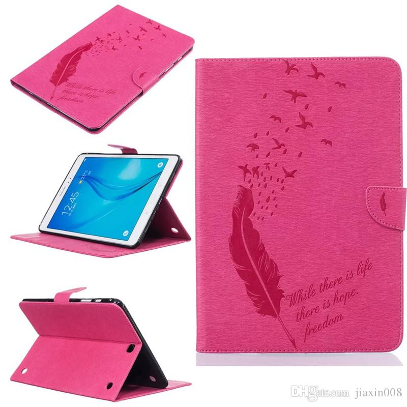 "For Samsung galaxy Tab A 9.7 "" T550 T555 Tablet Leather Case Filp Cover Wallet Stand With Card Slot Embossed Feather bird Desgin"