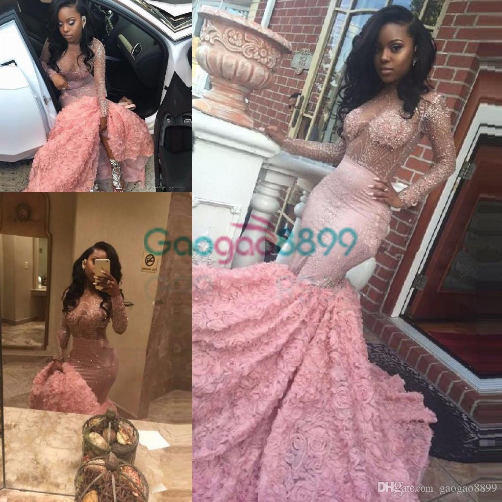 c6713861385 Sexy African Illusion Rose Floral Mermaid Prom Party Dresses 2017 Modest  Luxury Sparkly Beaded Long Sleeve Pink Arabic Occasion Evening Gown  Boutique Prom ...