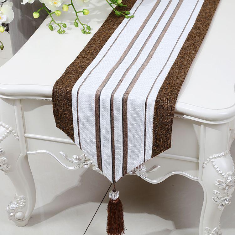 Stripe Allonger Patchwork Table Chemin De Fer Lin Classique Haut De Gamme Moderne Simple Table Basse En Tissu Table À Manger De Protection Tapis Placemat 230x33