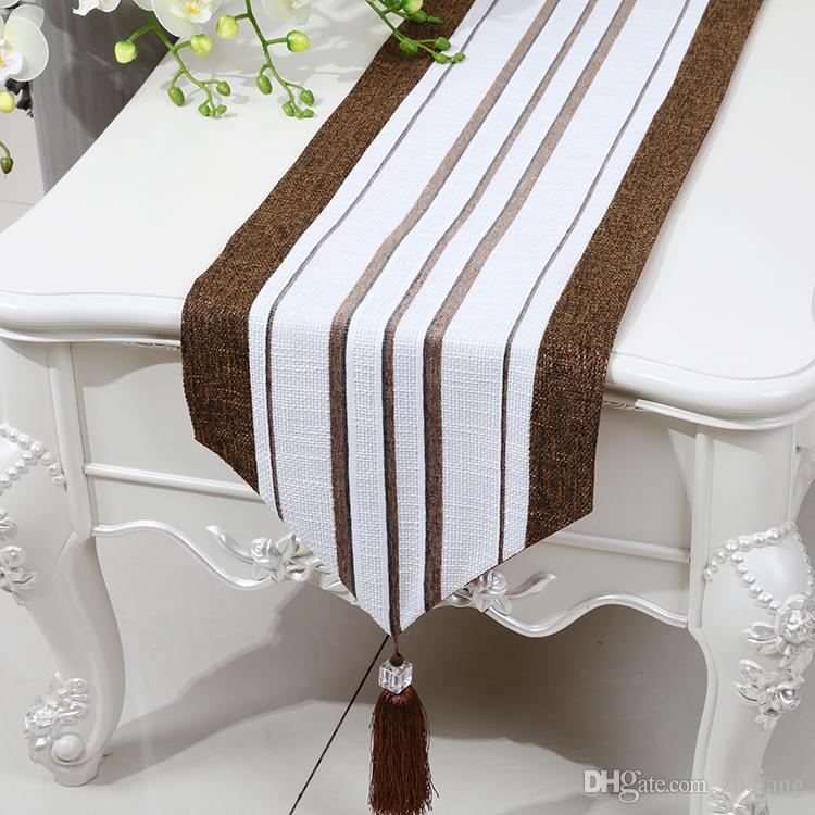 Stripe Extra Long Patchwork Table Runner Linen Classic High End Modern Simple Tea Table Cloth Dining Table Protective Pads Placemat 280x33