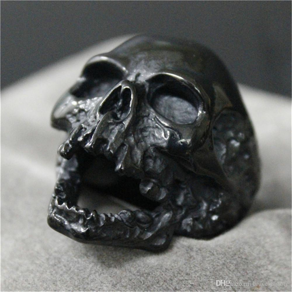 Menino Novo Anel Crânio do motociclista apoio Dropship enorme Evil Skull Anel inoxidável 316L Homem de Aço