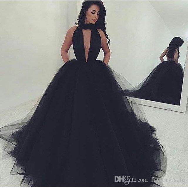 2017 Gorgeous Plunging V Neck Prom Dresses Ball Gown Black Sexy ...
