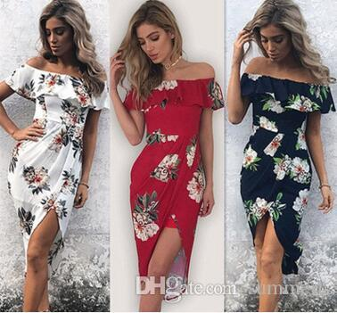 789dcc678a Summer Women Bohemian Beach Dress Boho Sexy Off Shoulder Floral Print Long  Maxi Party Beach Sundress Long Maxi Dress Vestidos Femininos New Knee  Length ...