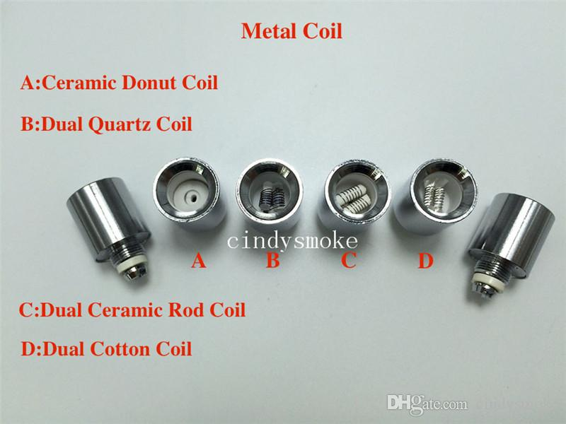 Cannon coils Dual quartz Wax replacement Metal Ceramic Donut Coil for cannon bowling vaporizer glass globe dry herb straight tube Atomizer