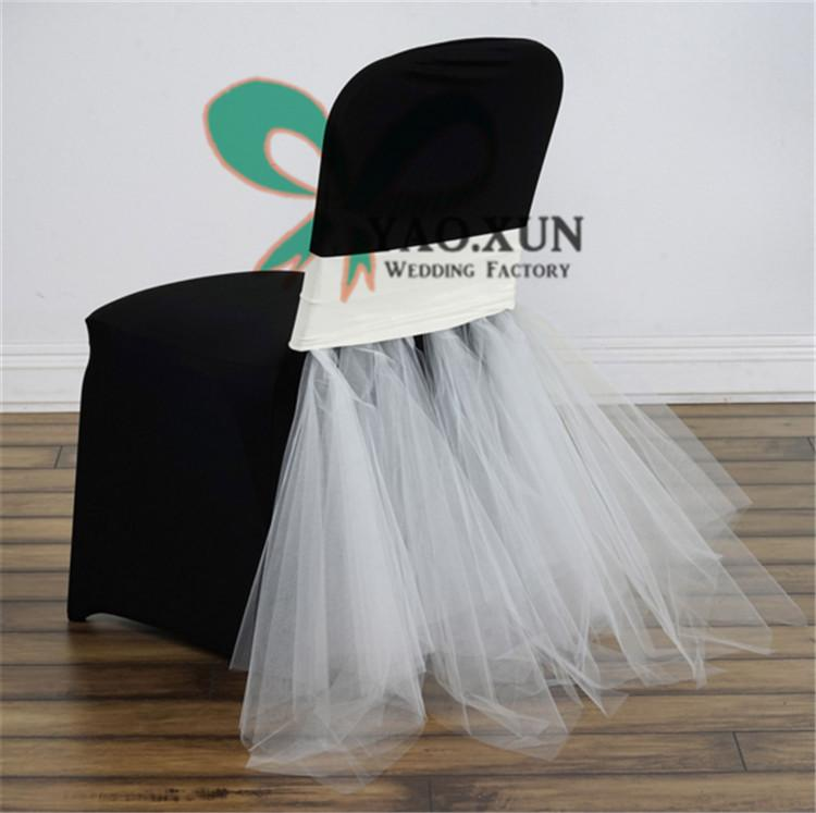 Beautiful Design Lycra Spandex Chair Band \ Chair Sash With Tutu Organza Drape Decoration Fit For Chair Cover