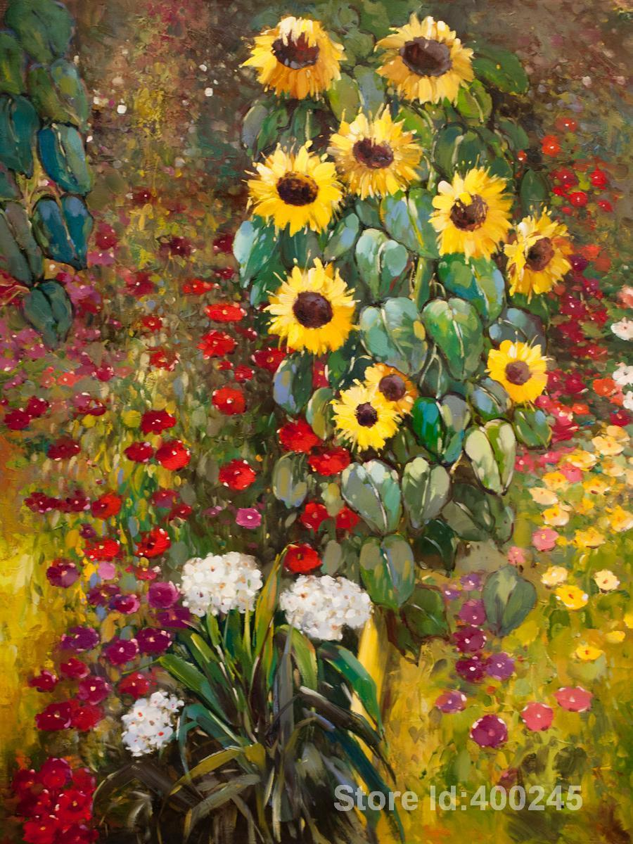 Flowers Oil Paintings By Gustav Klimt Farm Garden With Sunflowers Yellow Wall  Art Hand Painted High Quality Novelties Business Gifts Novelties For Kids  From ...