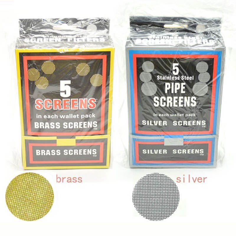 20 mm de tubo de latón Pantallas para fumadores / metal Filtros de plata y latón, acero inoxidable para su uso con cualquier tubería o Bong