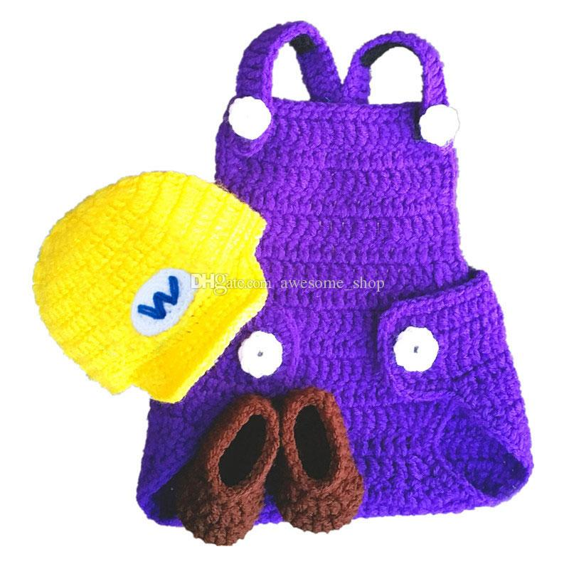 2018 Crochet Super Mario CostumeHandmade Crochet Baby Boy Girl Wario Hat Diaper Cover Booties SetInfant Halloween CostumeNewborn Photo Props From ...  sc 1 st  DHgate.com : super mario costume for baby  - Germanpascual.Com