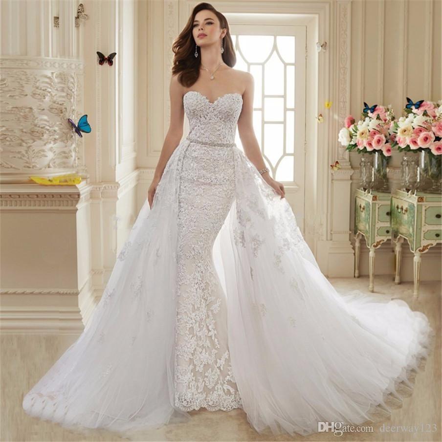 Querida Applique Lace Mermaid Vestido de casamento com destacável Train Saia Two Pieces vestidos de noiva robe de soiree