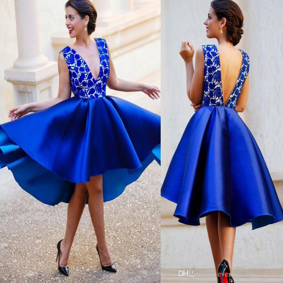 b41dfd538b A Line V Neck Backless Short Royal Blue Satin Homecoming Dress With Lace  Open Back Sexy Mini Prom Dresses Summer Dress Short Sequin Homecoming Dress  Size 0 ...