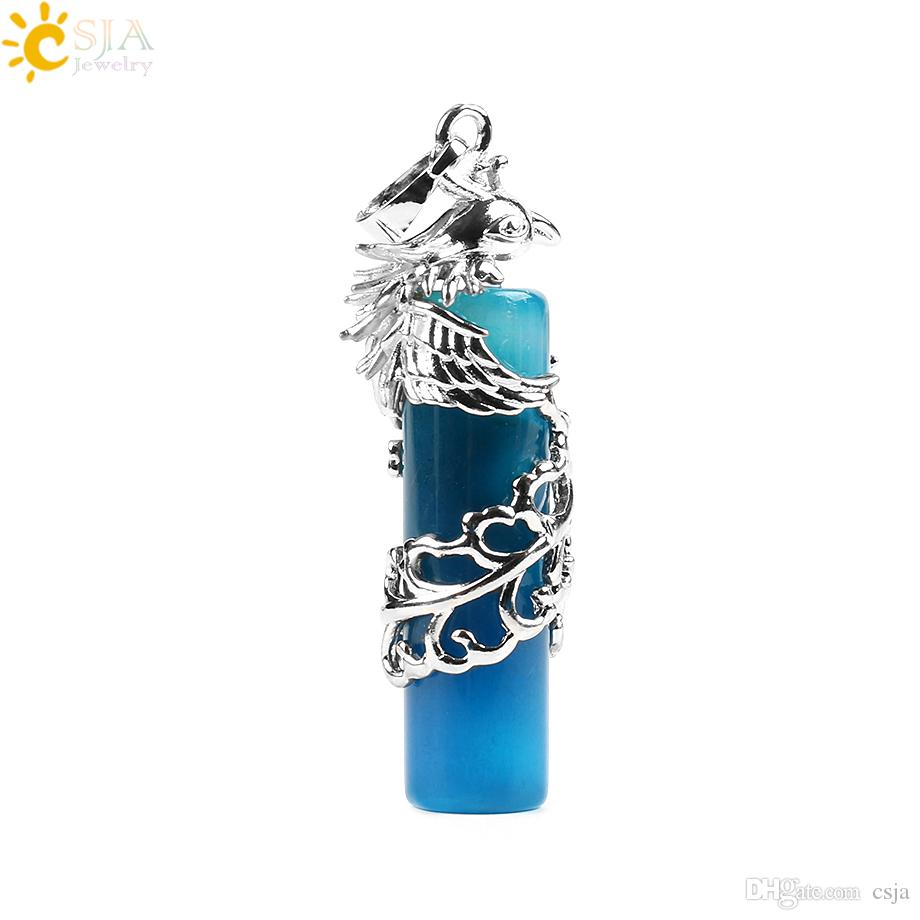 CSJA Silver Phoenix Wrap Natural Gemstone Cylinder Column Agate Pink Rose Quartz Crystal Pendants Men Jewelry Women Gift E588 A