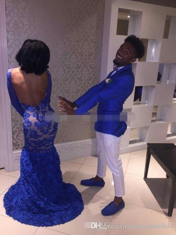 2019 royal blue lace prom abiti da sera black girl sirena bateau illusion maniche lunghe vestidos de fiesta abiti da sera formale arabo