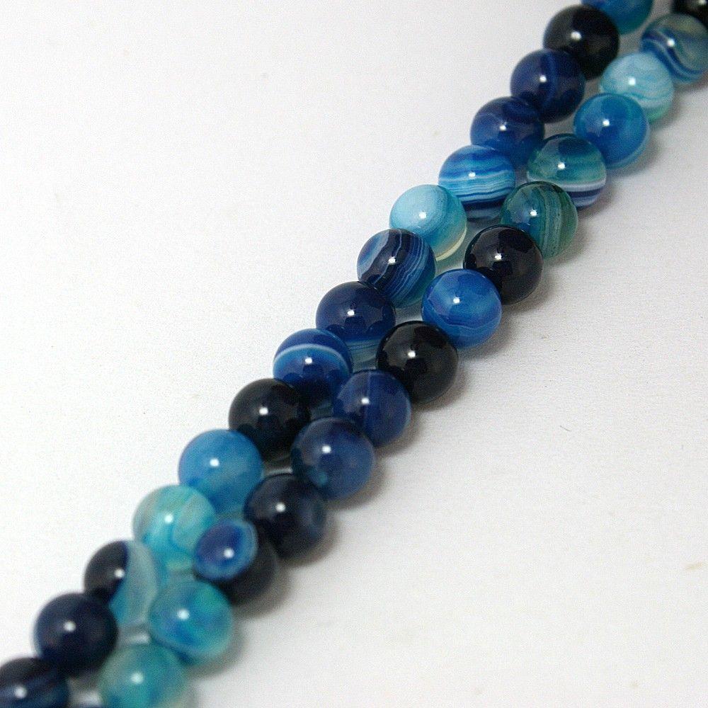 Beadia Fashion 4 6 8 10 12 14mm Smooth blue Striated Agate Round Beads Loose Beads Onyx Semi Precious Stone