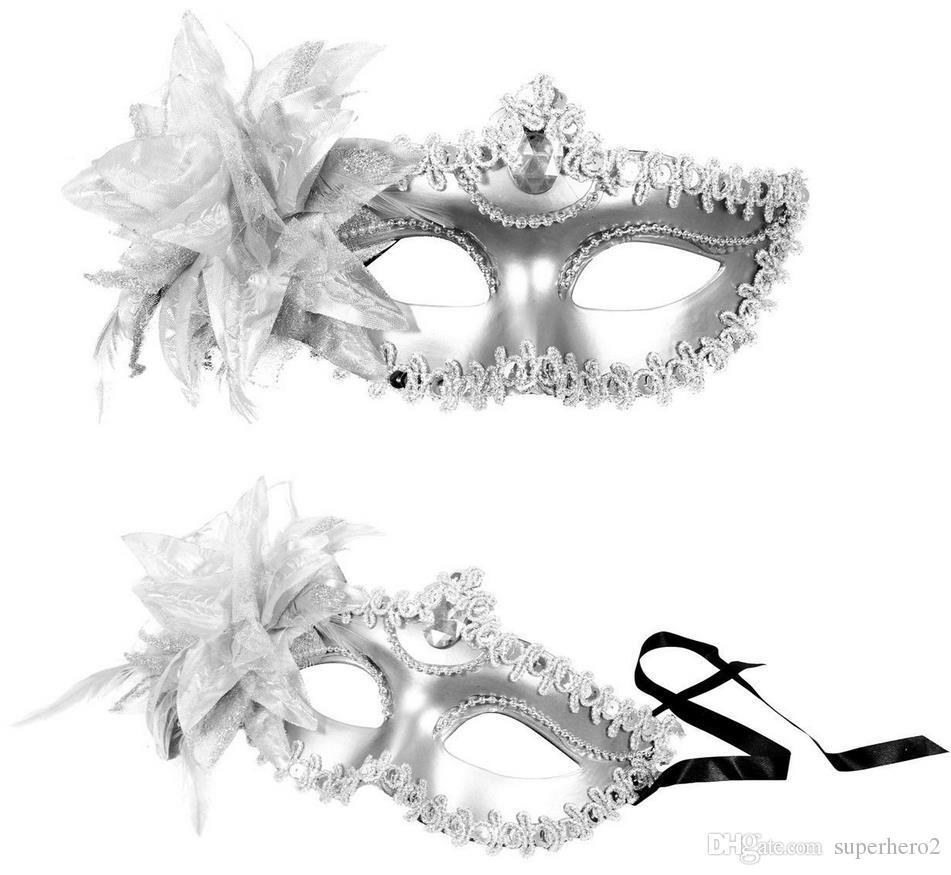 Venetian masqueradeDance Ball Mask Wedding Party Fancy Dress eyemask On Stick Masks Lily Flower Lace Feather Held Stick Mask