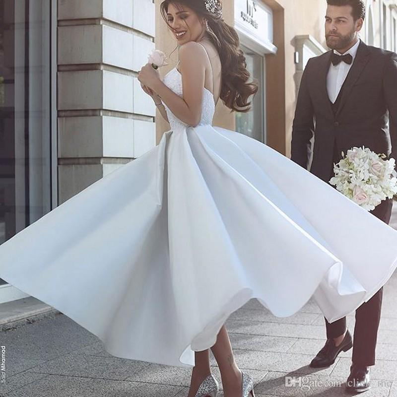Discount Said Mhamad Simple Wedding Dresses Cheap Ankle Length A ...