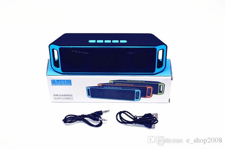NUEVOS SC208 SC-208 Mini Altavoces portátiles Bluetooth Inalámbrico Inteligente Manos libres Altavoz Subwoofer de gran potencia Soporte TF y USB Radio FM libre de DHL