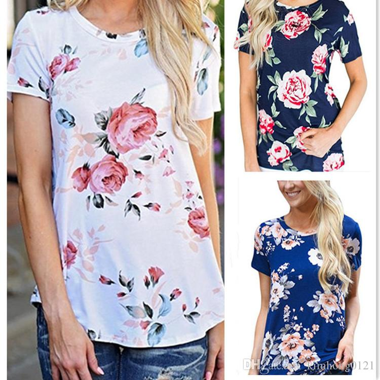 abdc6db8803c95 2019 2017 New Arrival Fashion Summer Casual Women Short Sleeve Printed  Floral Blouse Tops Lounge Vintage T Shirt Plus Size From Kimhong0121