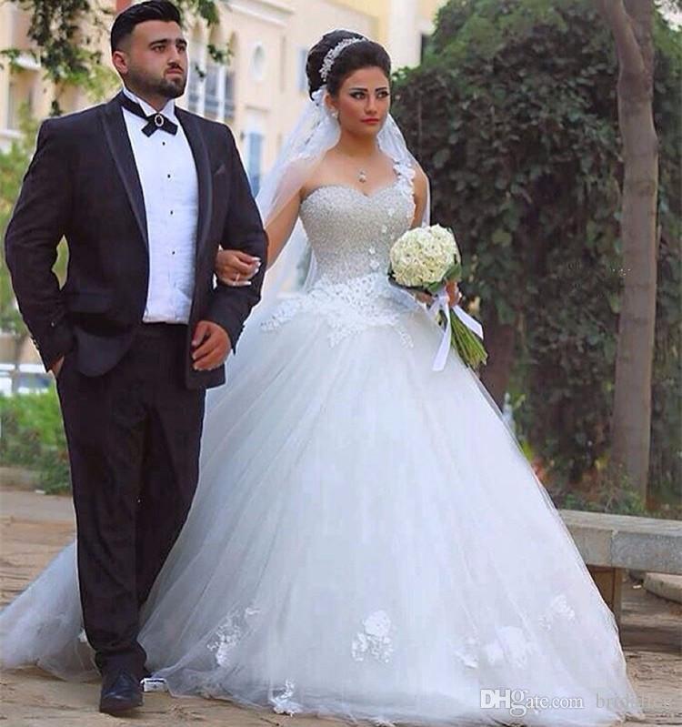2017 Vestidos de Casamento Peradings de luxe Robes De Mariée Robe de Boule Sweetheart Dentelle Applique Robe De Mariée Robes de mariée