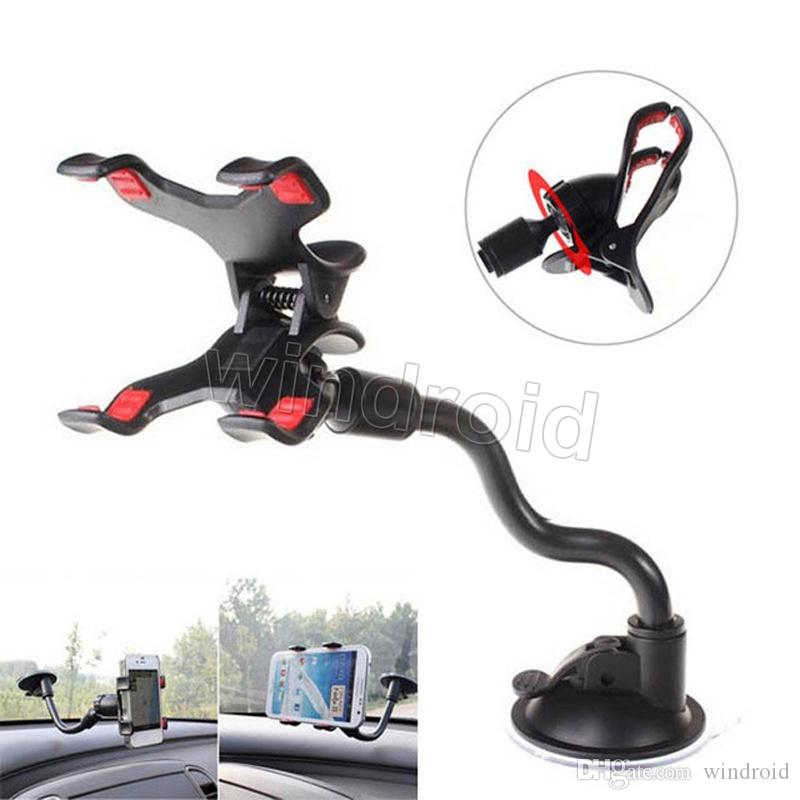 Car Mount Long Arm Universal Windshield Dashboard Mobile Phone Car Holder 360 Degree Rotation Car Holder with Strong Suction Cup X Clamp