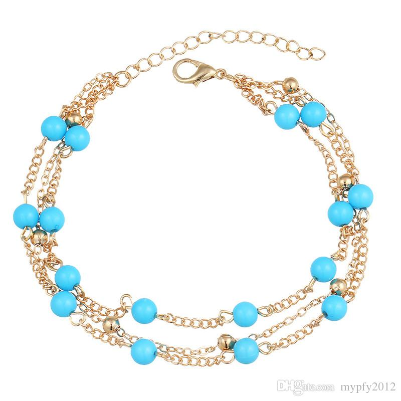 New Fashion Bohemian Blue Beads Multi Layer Chain Barefoot Sandals Anklets Foot Jewelry For Women Gifts HZ