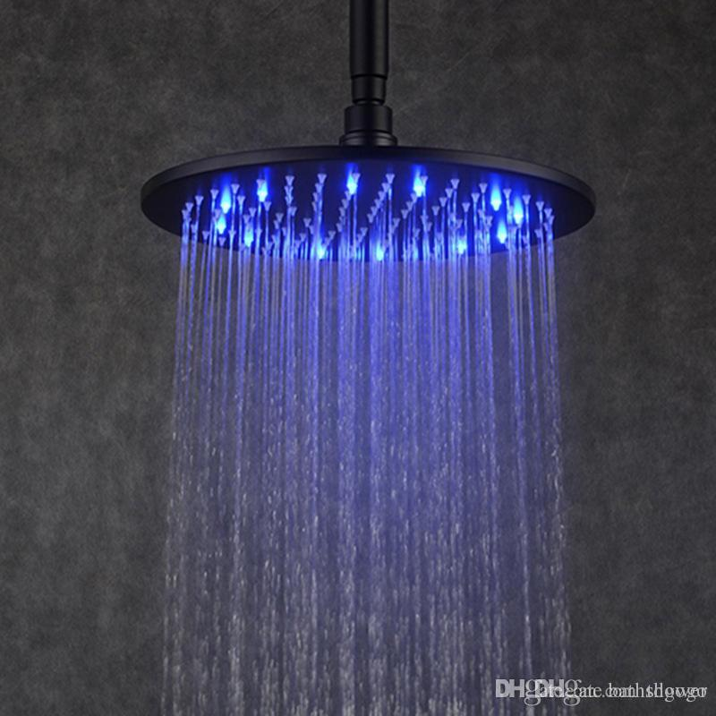 2018 Black Rain Shower Head 12 Inches Led Overhead Shower Brass ...