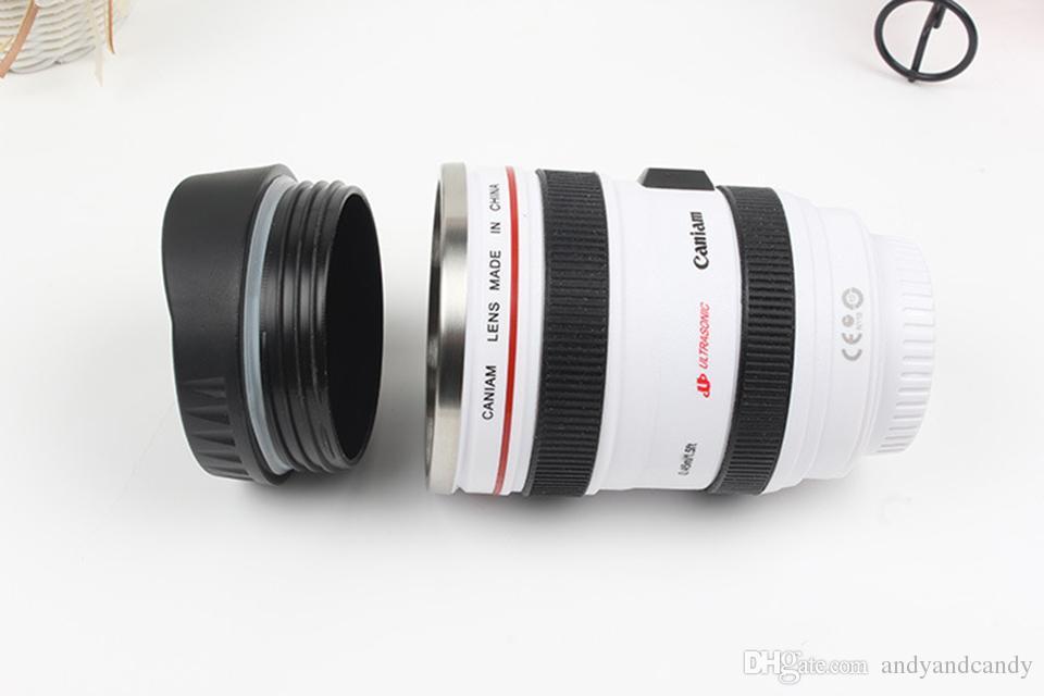 Criativo Camera Lens Caneca De Aço Inoxidável Liner Emulação Camera Lens Canecas de Café Chávena de Café Novidade Presentes Frascos de Viagem Thermocup 400 ml