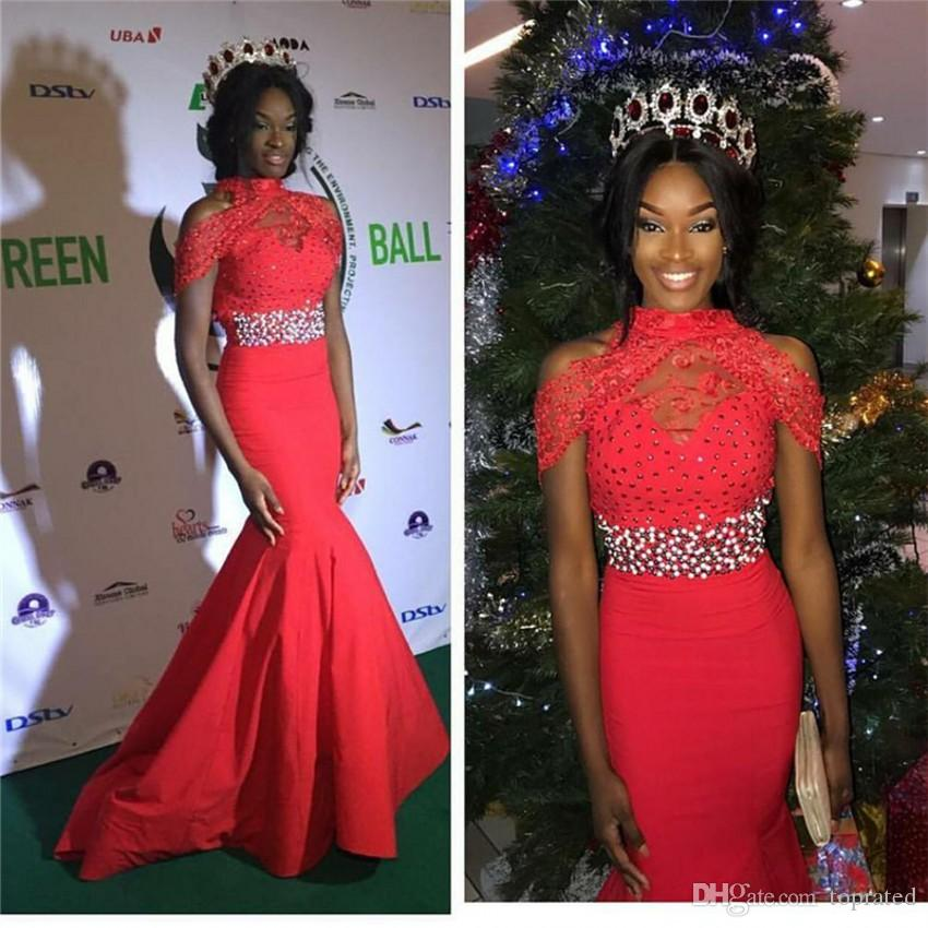 Miss World Pageant 2017 Evening Gowns Red Sheer High Neck Mermaid Satin Sleeveless Lace Beading Floor Length Women Prom Gowns Formal Wear
