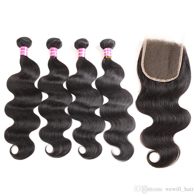 Brazilian Body Wave Virgin Remy Human Hair Weave 4 Bundles with Closure New Arrival Ponytail Hair Extensions Top Lace Closure Just for You