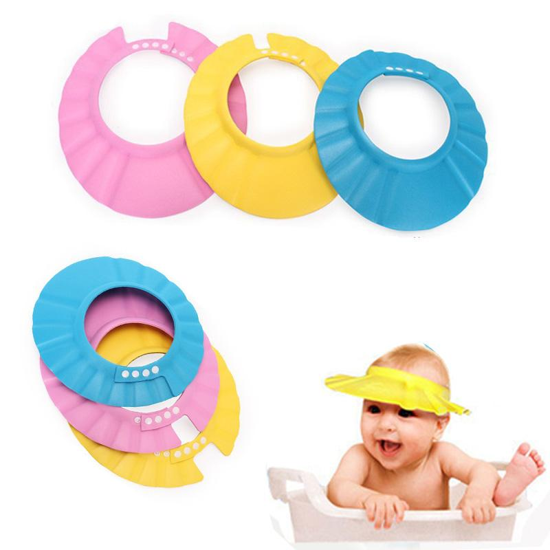 Wholesale siriusha10 Hot Adjustable Baby Shower Cap Soft Shampoo Baby Care 0-6 year old children common three colors