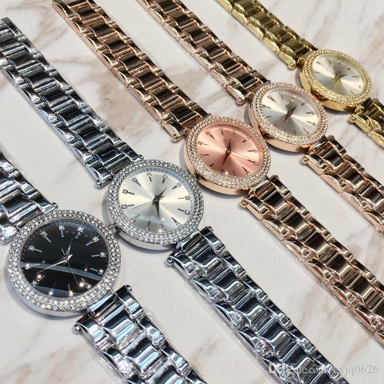 New model 2019 Fashion sexy lady watch with diamond Stainless Steel Bracelet women Wristwatches female clock gold silver drop shipping