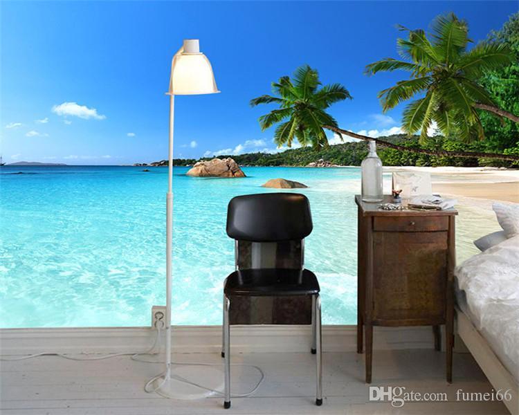 Пользовательские 3D фото обои море пляж пальмы заволакивания стены росписи для гостиной Спальня фоне обоев де parede