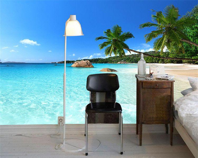 Personalizado 3D Foto Papel De Parede Seascape Praia Palma Parede Cobrindo Mural Rolo Para Sala de estar Quarto Fundo Papel De Parede De Parede