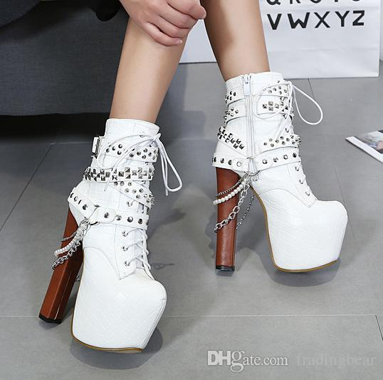 Trendy rivets chain motorcycle boots womens fashion squared toes high platform thick heel boots size 34 to 40