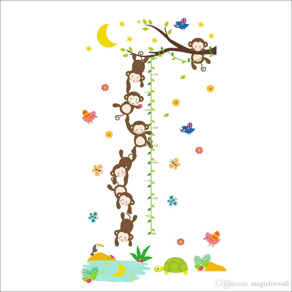 Cartoon Monkey Catching Moon in Well Wall Stickers Tree Leaves Height Ruler Wall Decals Kids Boys Girls Room Wallpaper Poster Art