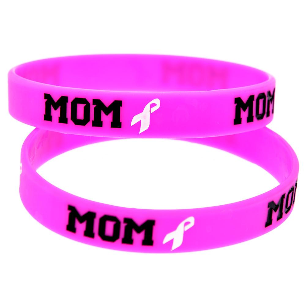 Wholesale Pink Bracelet Mom & Ribbon Ink Filled Logo Fashion Silicone Rubber Wristband Promotion Gift