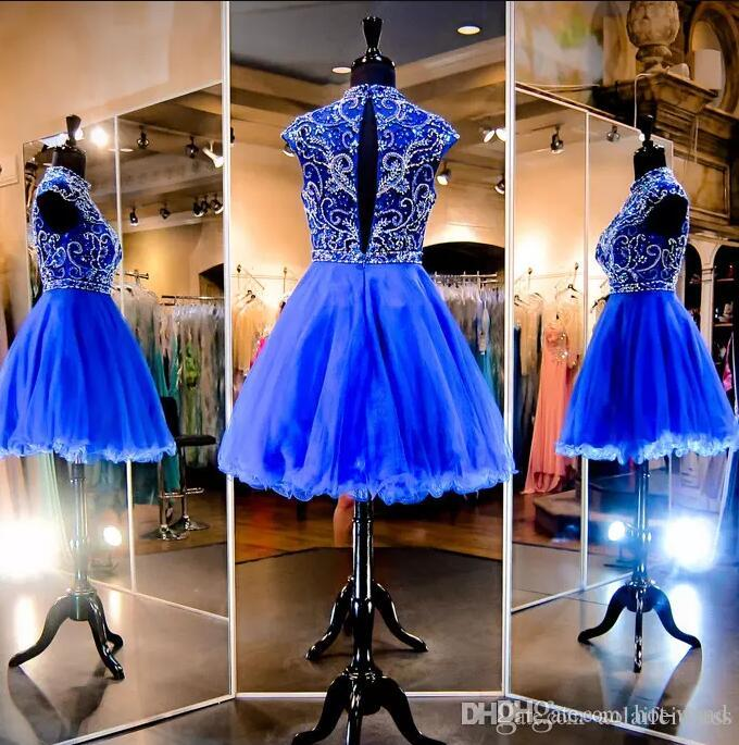 Bling Sparkly Royal Blue Mini Short Homecoming Dresses 2020 New High Neck Cap Sleeve Crystal Beaded Tulle Short Cocktail Graduation Dress