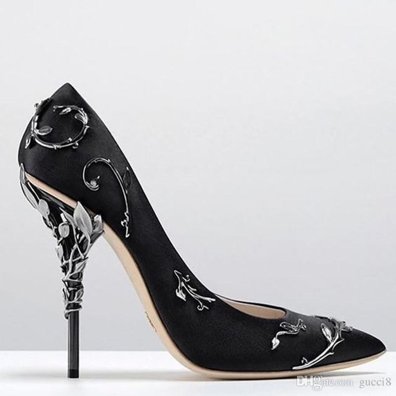 Alta qualità Foglie Pompa Moda Metallico Designer Punta a punta Festa di lusso Scarpe da sposa Donna Pista Tacchi alti Pompe Foto reali Taglia 42