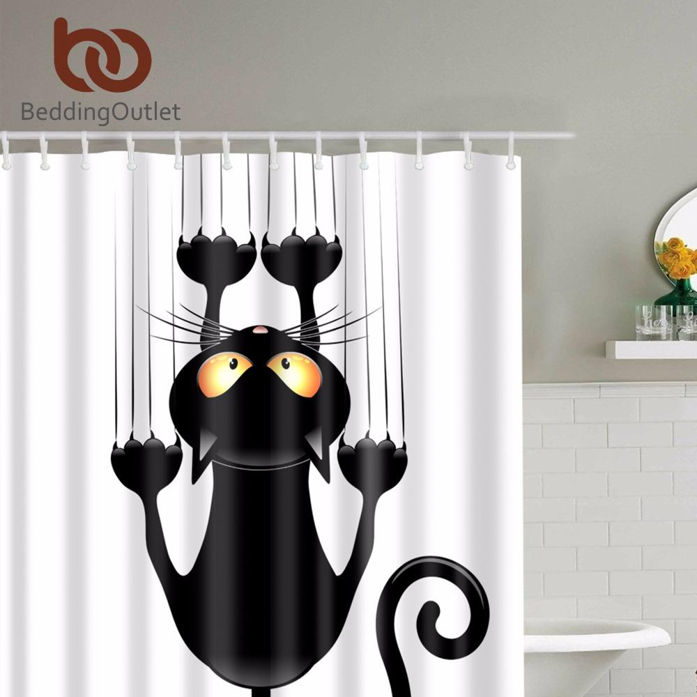 Cute Black Cat 100/% Polyester Bathroom Decor Shower Curtain Bath Mat Rug Hooks