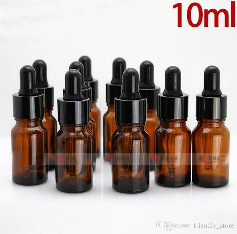 Hot Sale Empty 10ml Brown Glass Dropper Bottles Wholesale With Glass Eye Dropper Pipette For Essential Oils